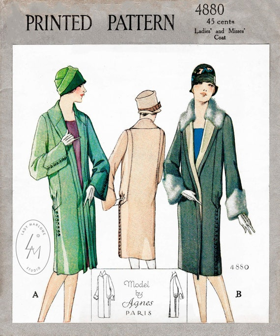 Vintage Sewing Pattern 1920s 20s Winter, Ladies Winter Coat Sewing Pattern