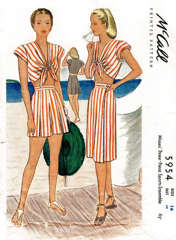 1940s 40s vintage sewing pattern front tie crop top playsuit