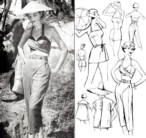 1950s 50s beachwear 5 piece set vintage sewing pattern romper | Etsy