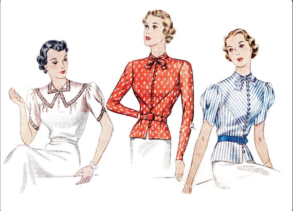 1930er Jahre Bluse Vintage Schnittmuster Reproduktion / / 3
