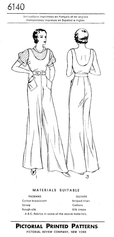 década de 1930 costura vintage patrón playa pijamas un pedazo | Etsy