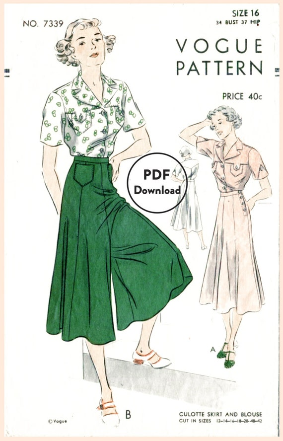 1930er Jahre Vintage Nähen Muster weites Bein Hose oder | Etsy