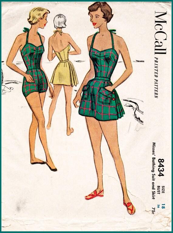 1950er Jahre 50er Jahre Vintage Badeanzug Schnittmuster Falten | Etsy