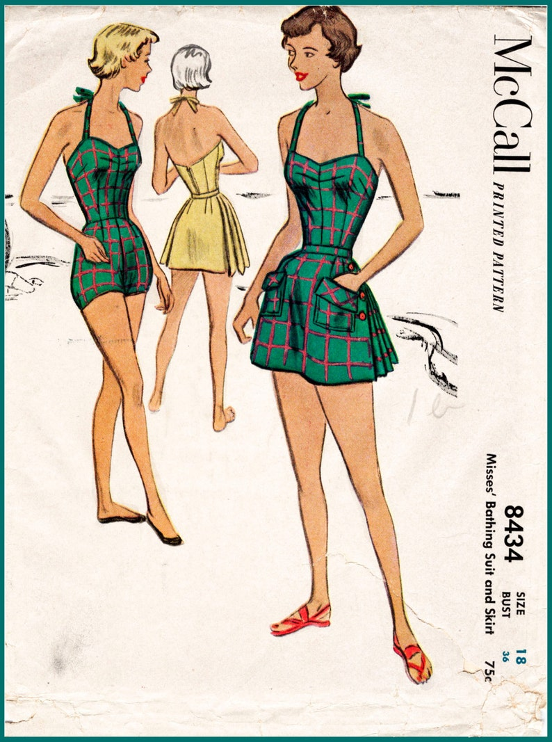 10238b3f74 1950s 50s vintage swimsuit sewing pattern pleated one piece