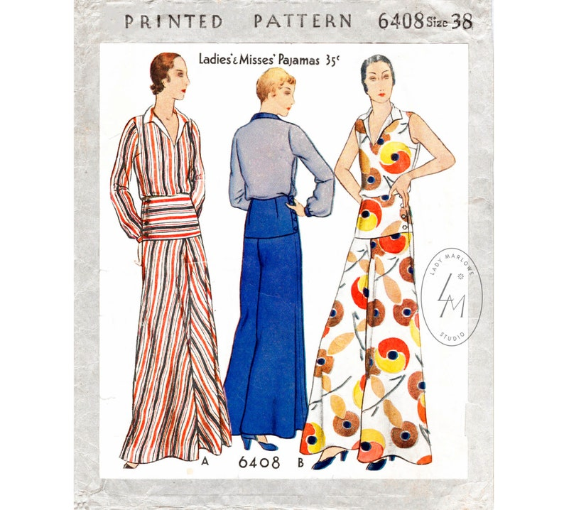 1930s Wide Leg Pants and Beach Pajamas 30s 1930s vintage womens sewing pattern reproduction beach summer sports wide leg trousers blouse bust 38 b38 English and French $22.80 AT vintagedancer.com
