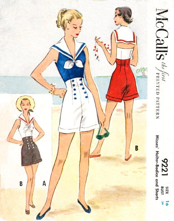 vintage sewing pattern 1950s 1960s romper playsuit vintage   Etsy