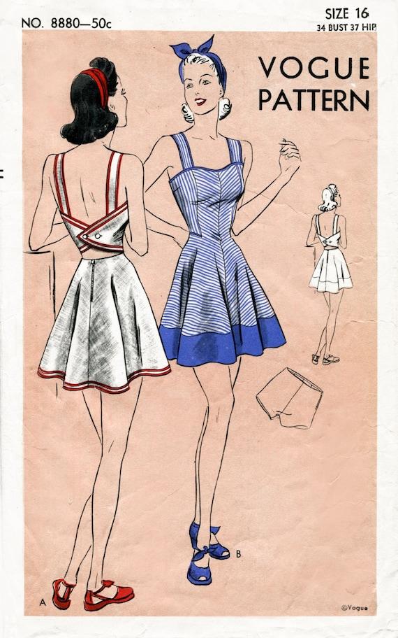 1940er Jahre 40er Jahre Vintage Vogue Nähen Muster Büste 34 | Etsy