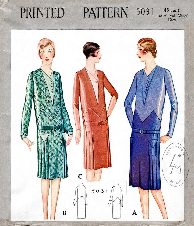 1920s Patterns – Vintage, Reproduction Sewing Patterns 1920s 20s dress // vintage sewing pattern reproduction // flapper era // zig zag seam // drop waist style // bust 32 34 36 38 40 $21.80 AT vintagedancer.com