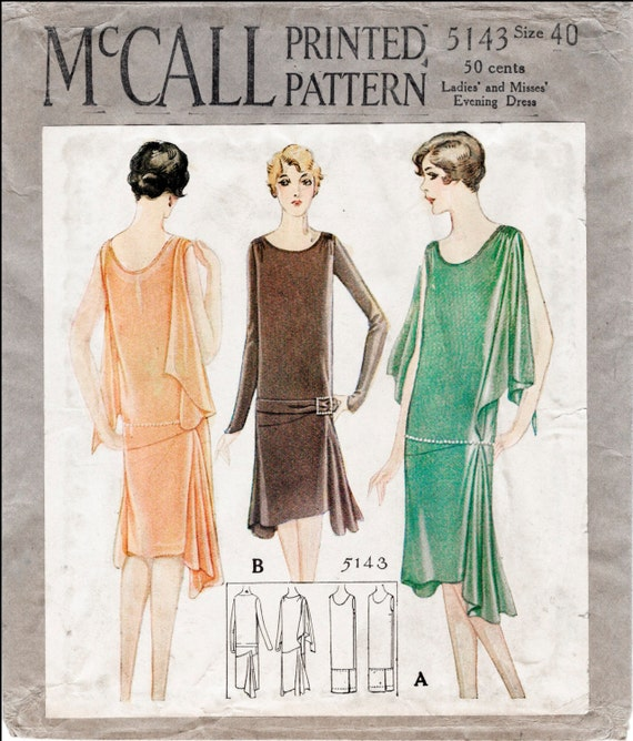 Vintage Sewing Pattern 60s 60s Reproduction Flapper Day Or Etsy Enchanting 1920s Dress Patterns
