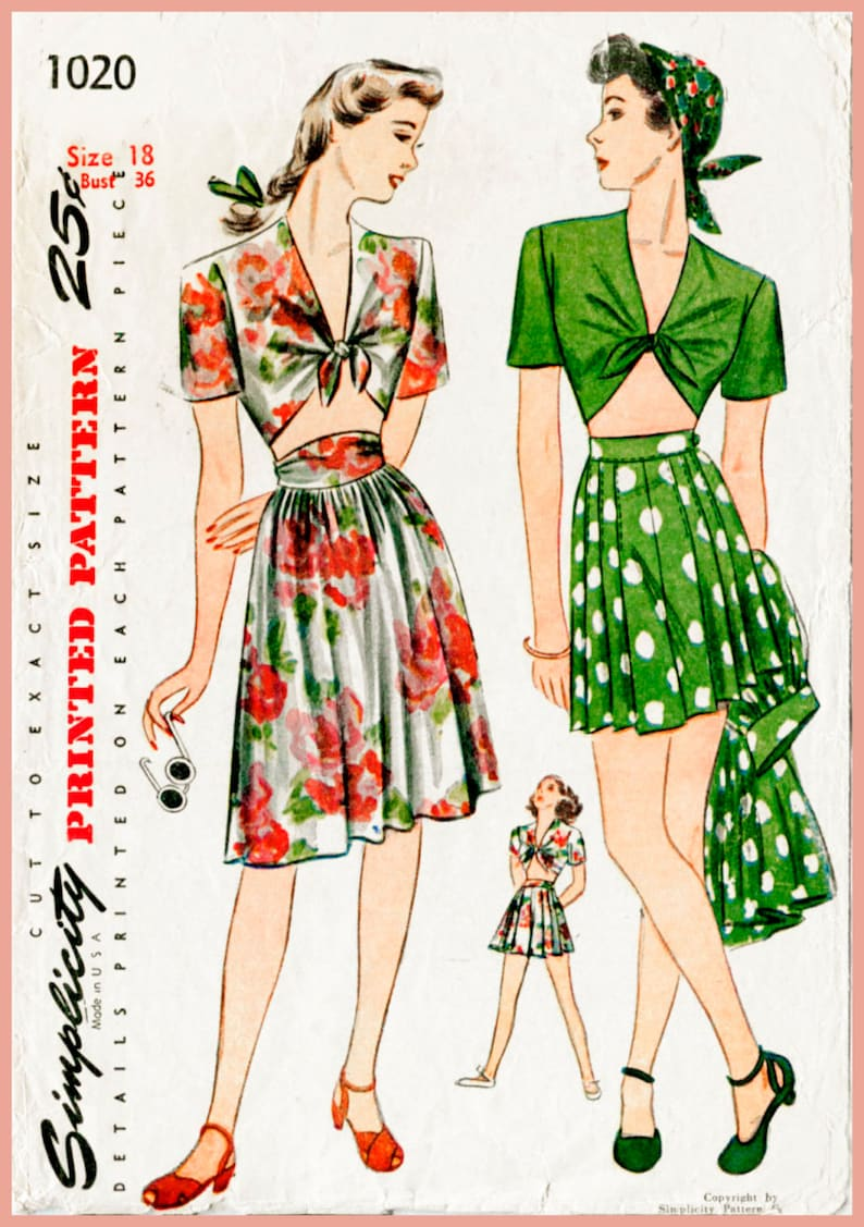 ae8df95a8c Vintage sewing pattern 1940s 40s vintage playsuit sewing