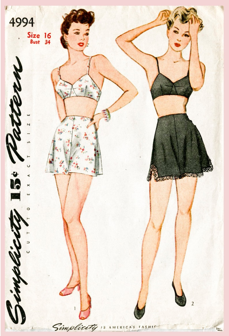 64b3f37585cbf Vintage sewing pattern 1940s 40s lingerie bra and tap shorts | Etsy