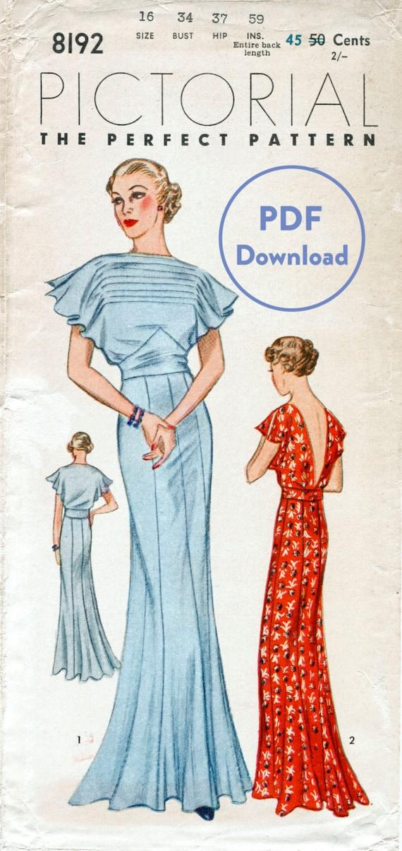 Schnittmuster der 30er Jahre 1930er Jahre Vintage Kleid | Etsy