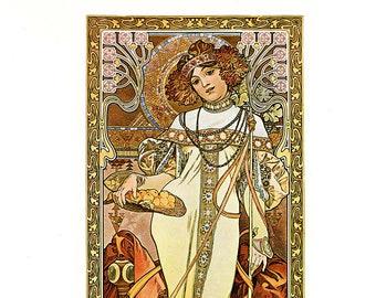 """Alphonse MUCHA 1976 Authentic Vintage Art Nouveau PRINT """"Automne"""""""