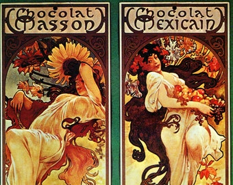 Alphonse MUCHA 1976 Authentic Vintage Art Nouveau PRINT 1897 CHOCOLAT Masson Chocolat Mexicain