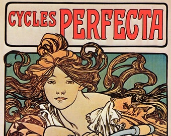 "MUCHA 1976 Authentic Vintage Art Nouveau Print 1897 ""Cycles Perfecta"""