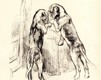 """1942 Vintage DOG PRINT from a book of Sketches by K.F. Barker """"Secrets"""""""