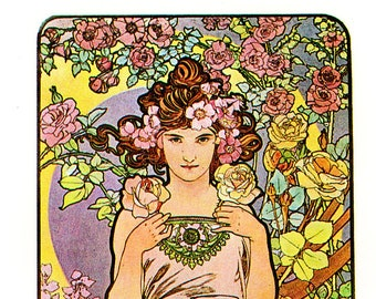 "Alphonse MUCHA 1976 Authentic Vintage Art Nouveau PRINT ""Rose"""