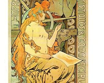 Alphonse MUCHA 1976 Authentic Vintage Art Nouveau PRINT 1897 Imprimerie Cassan Fils