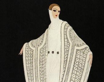 "Chic Original Vintage ERTE ART Deco Print ""PURITY"" Fashion Book Plate"
