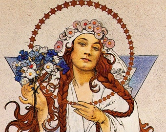 Alphonse MUCHA 1976 Authentic Vintage Art Nouveau Print c. 1922 Y W C A