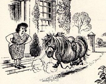 Original 1965 Funny THELWELL HORSE / PONY Vintage Art Cartoon Print