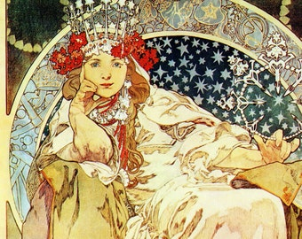 Alphonse MUCHA 1976 Authentic Vintage Art Nouveau Print 1911 PRINCESS HYACINTH