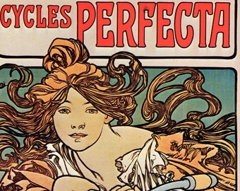 Alphonse MUCHA 1976 Authentic Vintage Art Nouveau Print 1897 CYCLES PERFECTA