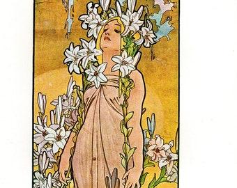 """Alphonse MUCHA 1976 Authentic Vintage Art Nouveau PRINT """"Lys"""""""