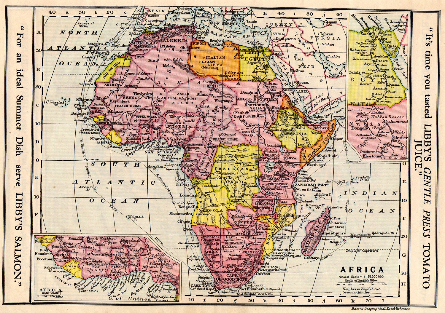 Map Of Africa 1700.Africa Vintage Map 1930 Egypt Madagascar
