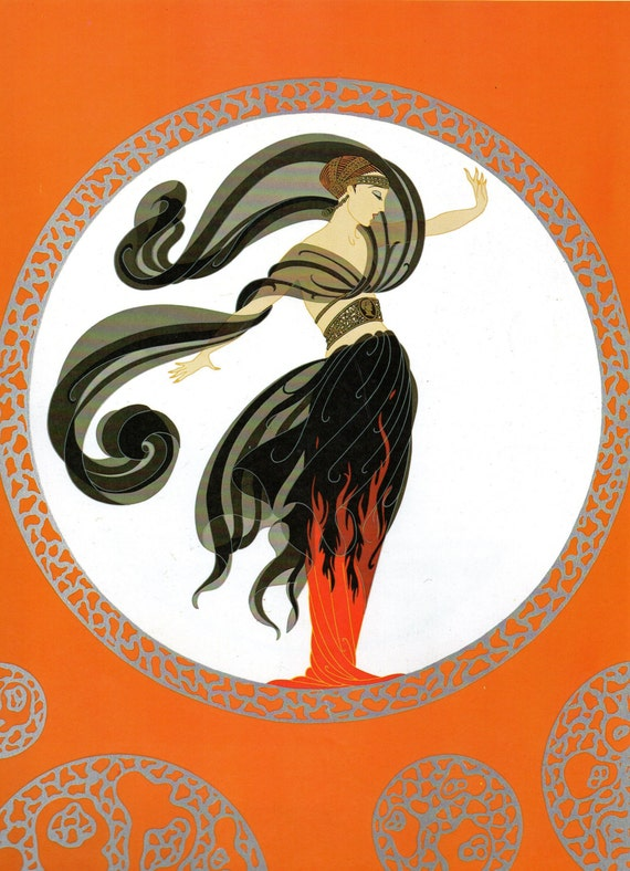 chic original vintage erte art deco print flames of etsy