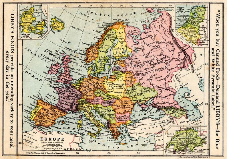 Europe Vintage Map 1930 Gt Britain Denmark Switzerland Etsy