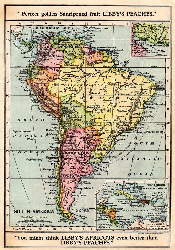 SOUTH AMERICA Vintage MAP 1930 Brazil Argentina Bolivia | Etsy