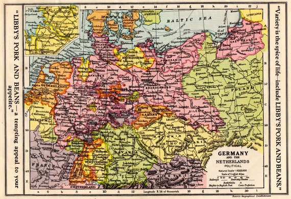 Germany And The Netherlands Political Vintage Map 1930 Etsy