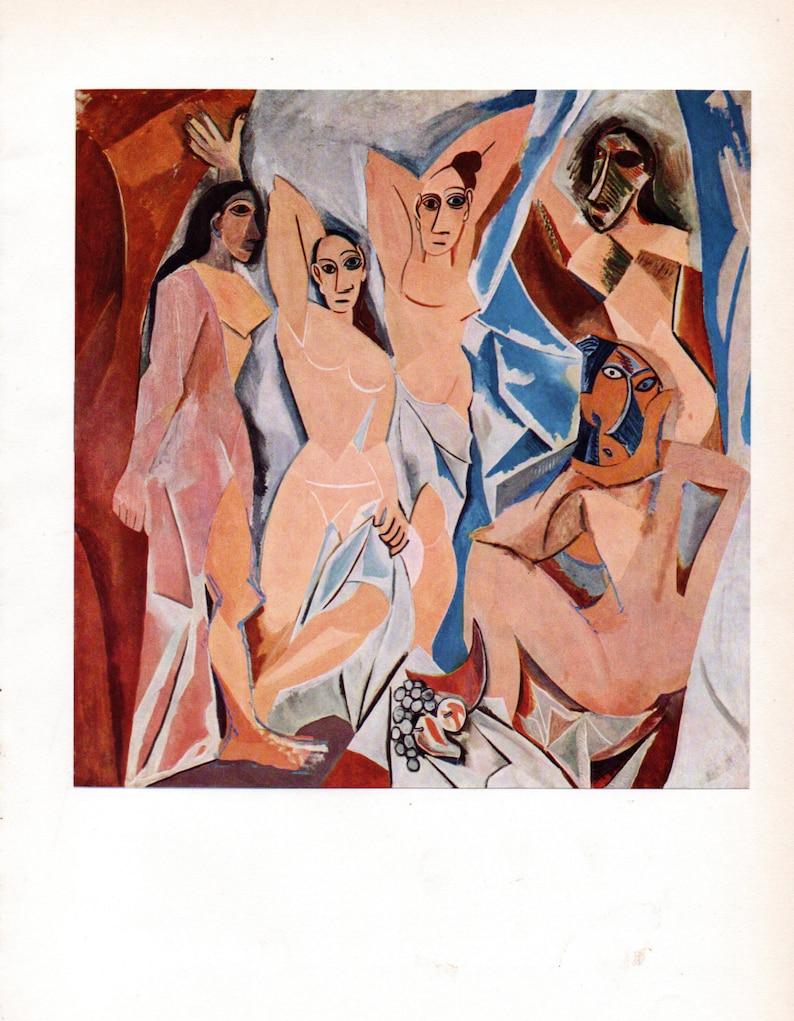 1955 Original PICASSO Vintage Colour Print Les DEMOISELLES d/'AVIGNON Tipped In Book Plate
