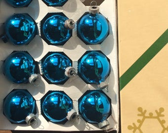 set of small vintage blue bulbs (15 count)