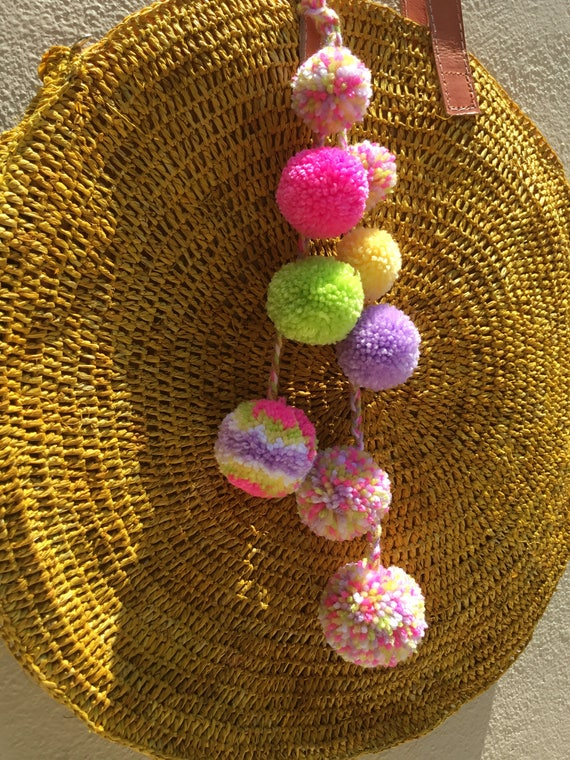 PomPoms Bag Decoration Pompom Bag Charm Coloured Pompoms | Etsy