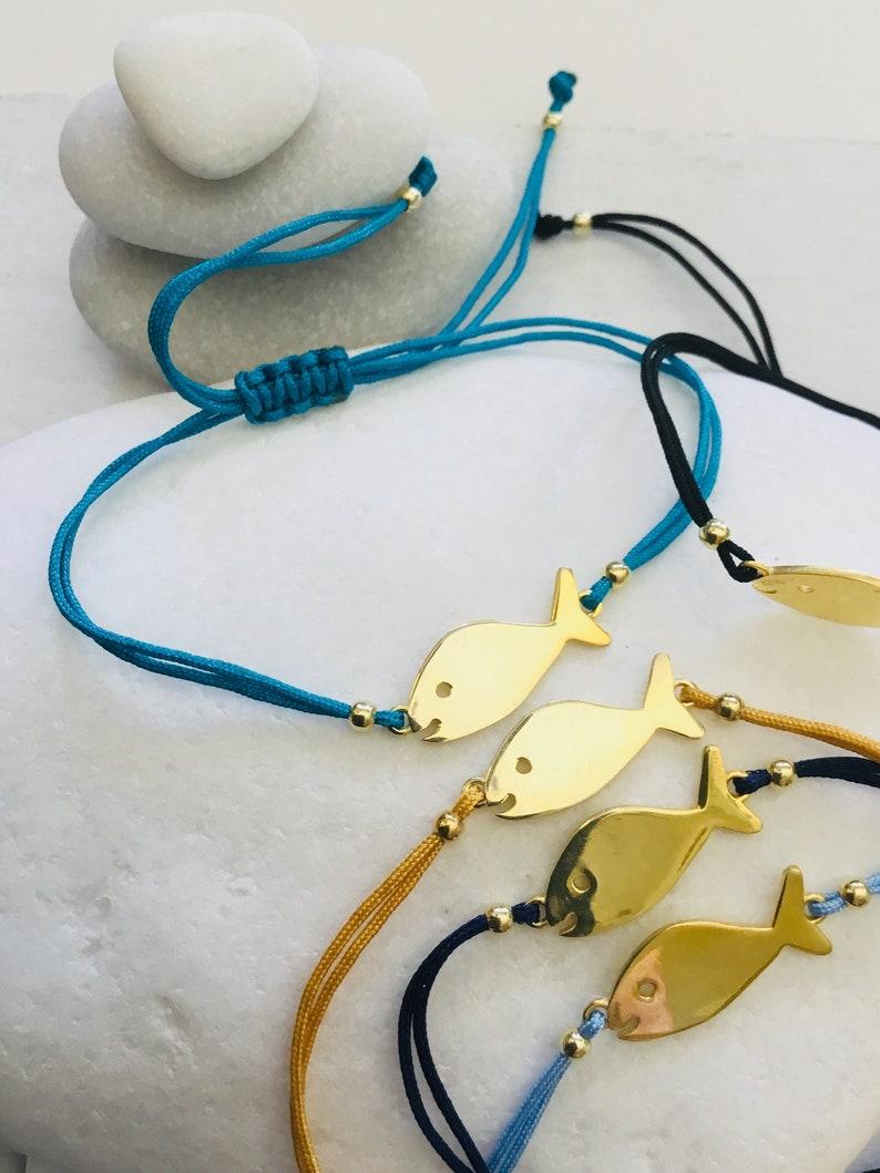 hippie fish bracelet Fish bracelet gift yellow gold gold fish charm fish bracelets festival gold bracelet fish jewellery hippie