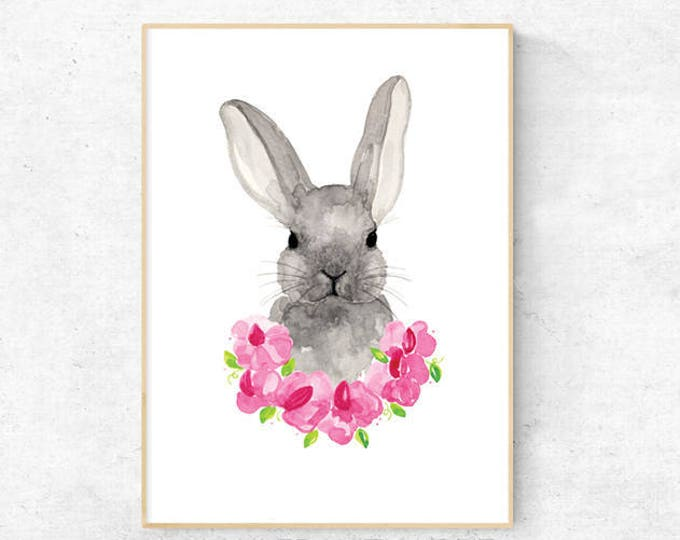 Bunny with Sweet Pea Watercolour - A4 Premium Print