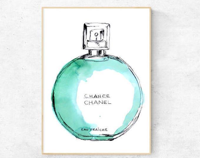 Chance Bottle Fashion Watercolour - Premium Print