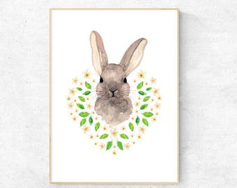 Bunny with Daisy Watercolour - A4 Premium Print