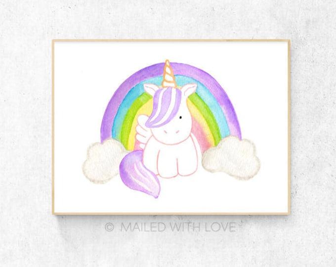 Baby Unicorn Watercolour - A3 & A4 Size - Digital Download