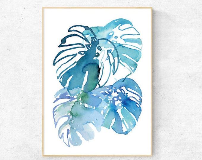 Monstera Watercolour Print - Digital Download