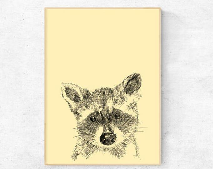 Raccoon illustration print - Digital Download