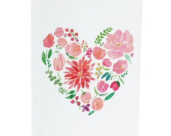 Heart Dahlia and Peonies - A6 Greeting Card