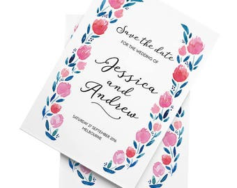 Flower Romance - A5 Save the Date - Personalised & Printable