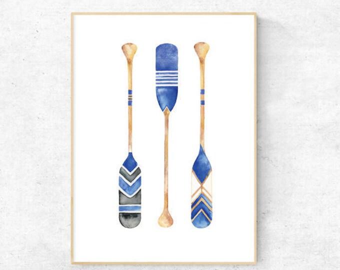Boat Oar Blue Watercolour, Nautical, Boats, Vintage Oars - Premium Print