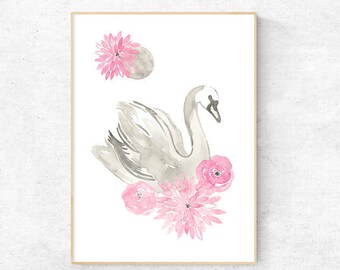 Moonlight Swan Watercolour with Peonies & Camelias - A4 Premium Print