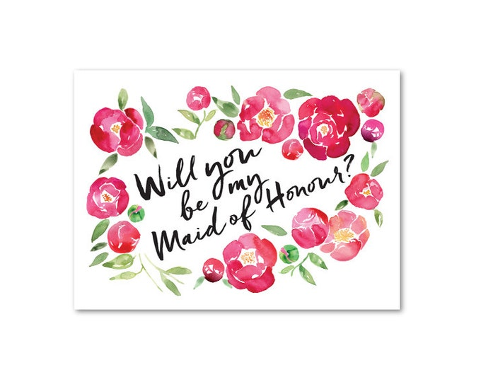 Be my Maid of Honour - A6 Greeting Card