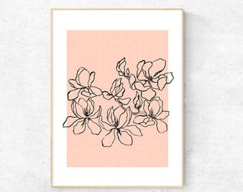 Magnolia Line drawing - Premium Print (4 colours available)