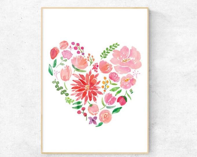 Heart Peonies Watercolour print - Digital Download